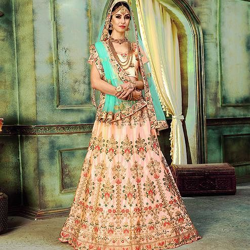 Beautiful Peach Colored Wedding Wear Embroidered Cotton Silk Lehenga Choli