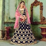 Gorgeous Navy Blue Colored Wedding Wear Embroidered Silk Lehenga Choli