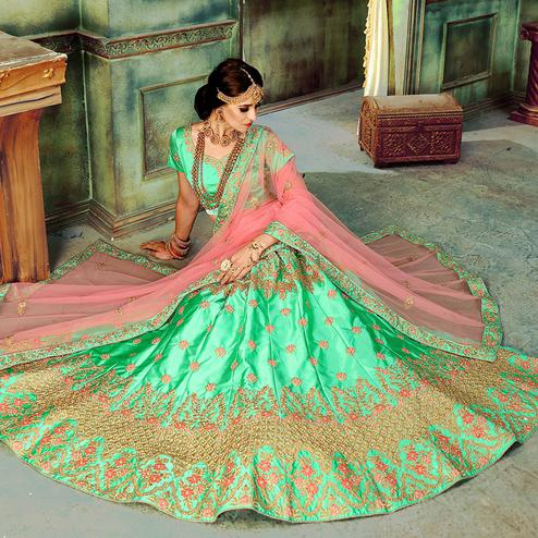 Classy Spring Green Colored Wedding Wear Embroidered Cotton Silk Lehenga Choli