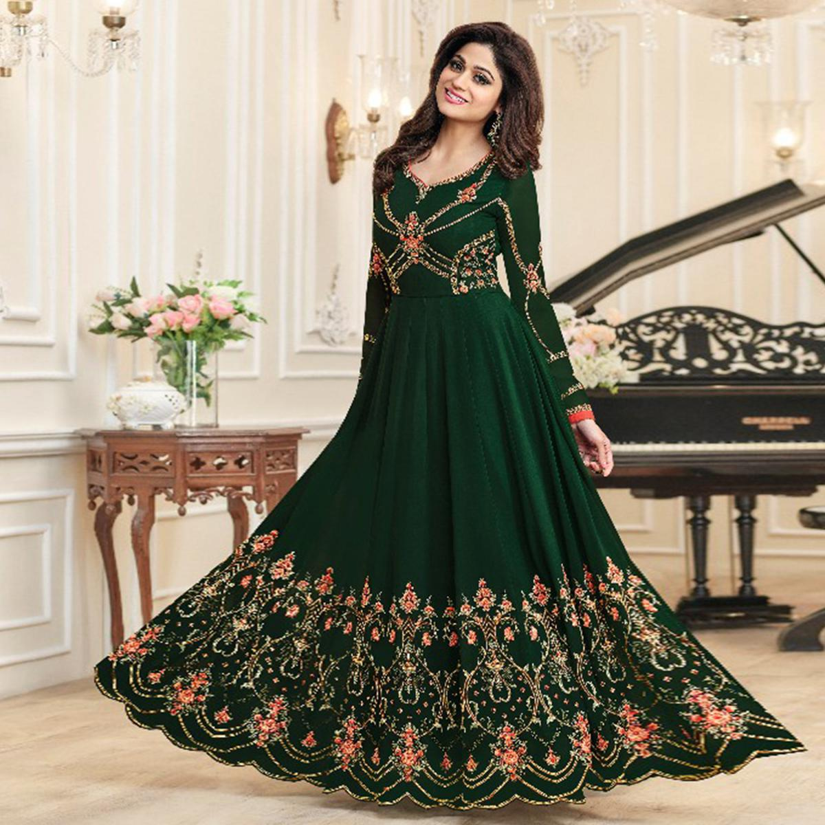 Prominent Green Colored Party Wear Embroidered Georgette Anarkali Suit