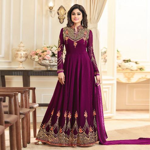 Capricious Purple Colored Party Wear Embroidered Georgette Anarkali Suit