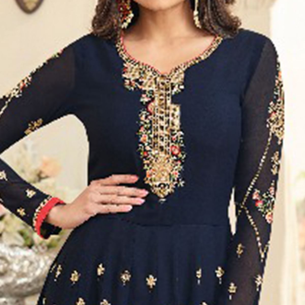 Adorning Navy Blue Colored Party Wear Embroidered Georgette Anarkali Suit