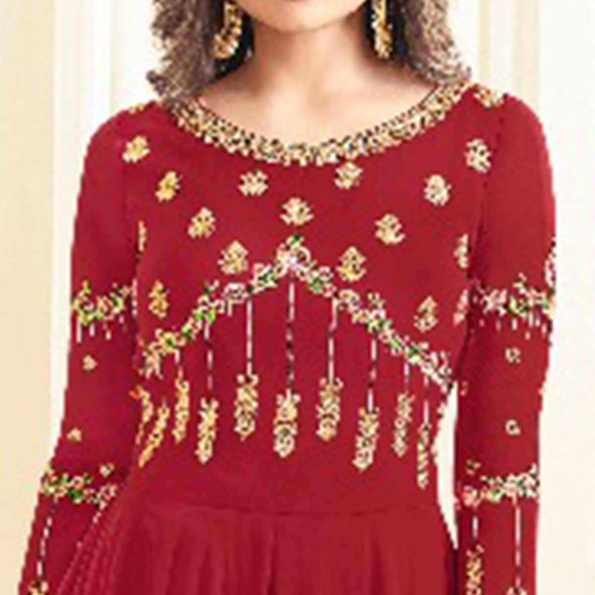 Captivating Red Colored Party Wear Embroidered Georgette Anarkali Suit