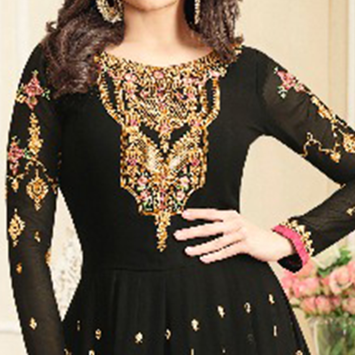 Flirty Black Colored Party Wear Embroidered Georgette Anarkali Suit