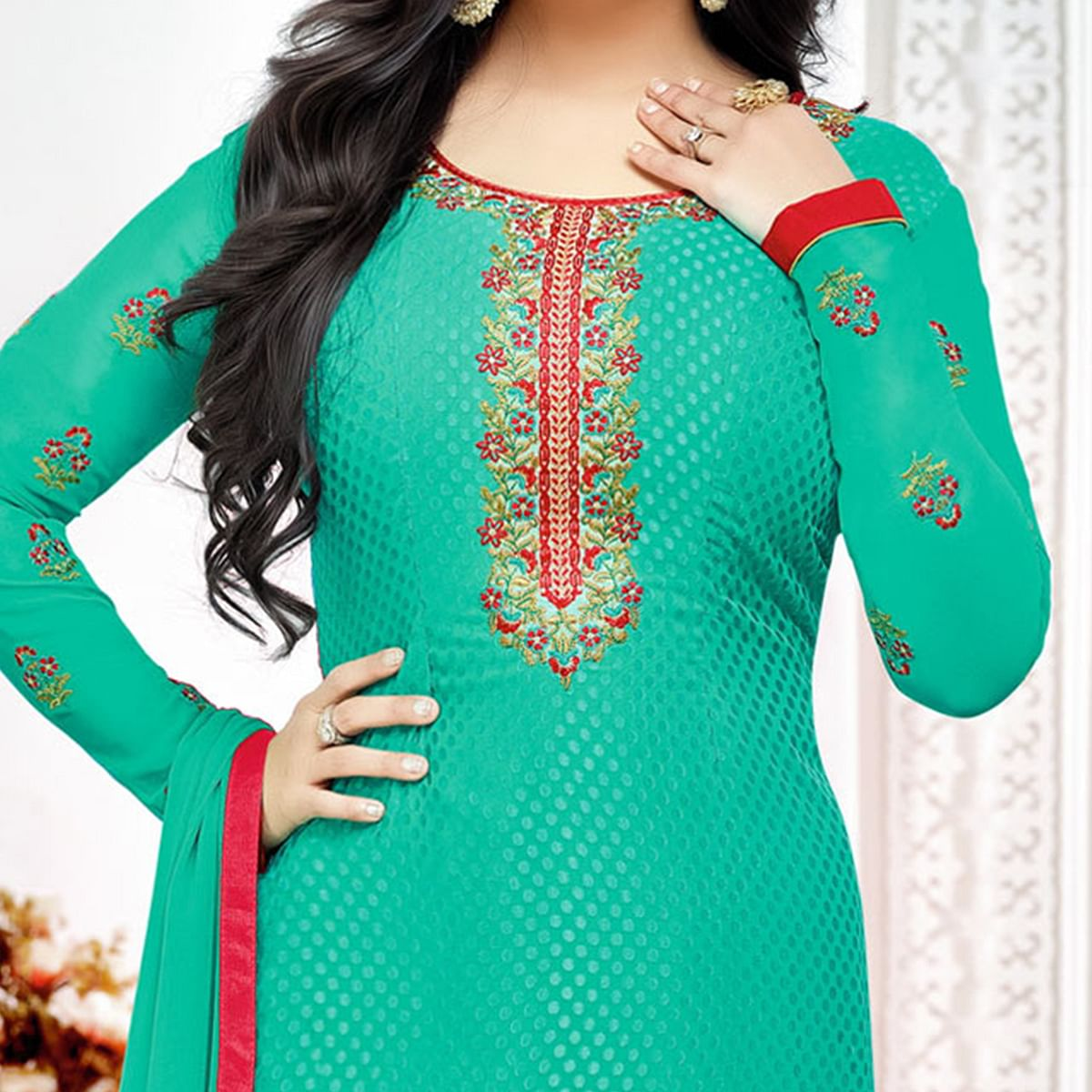 Ravishing Green Floral Embroidered Party Wear Suit