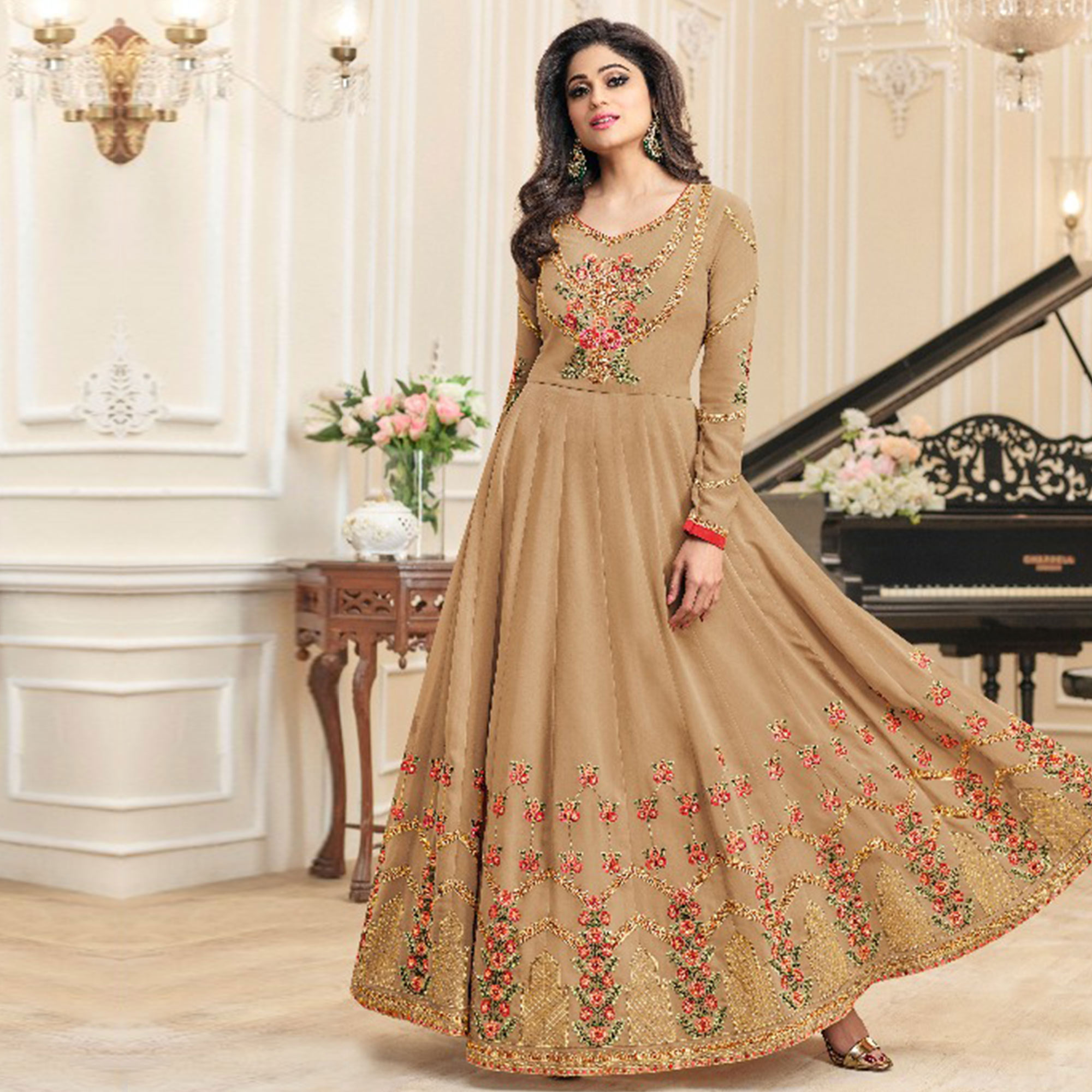 Classy Beige Colored Party Wear Embroidered Georgette Anarkali Suit