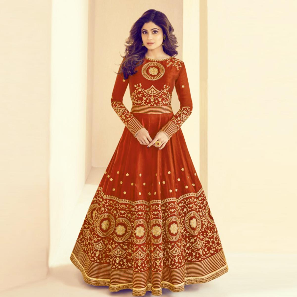 Excellent Red Colored Party Wear Embroidered Silk Anarkali Suit