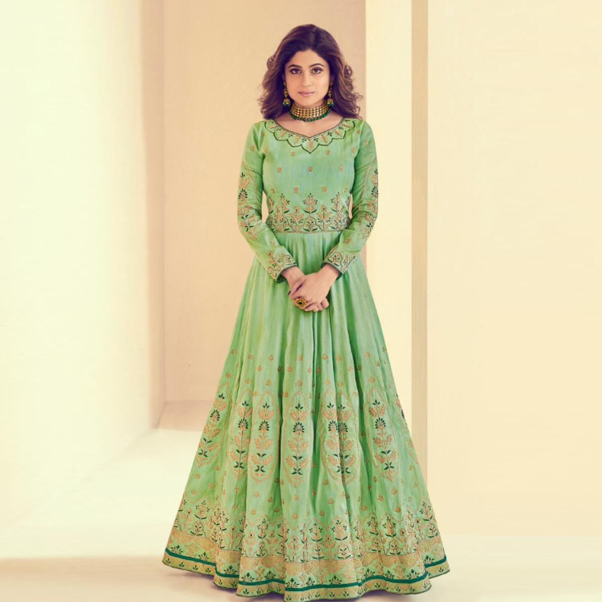 Ethnic Green Colored Party Wear Embroidered Silk Anarkali Suit