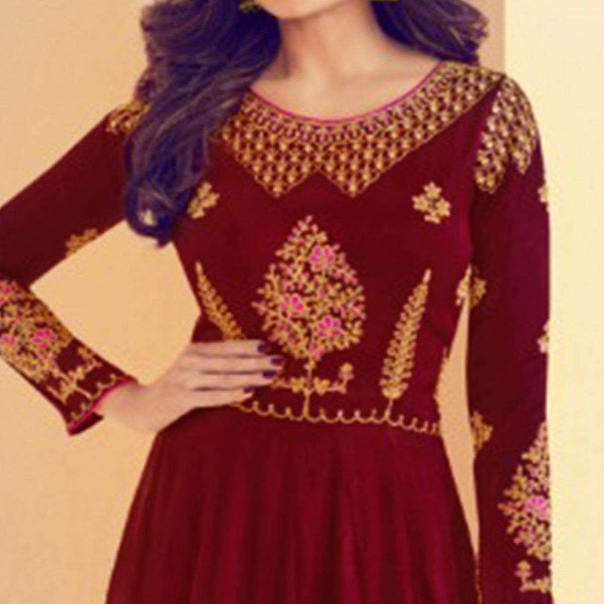 Starring Maroon Colored Party Wear Embroidered Silk Anarkali Suit
