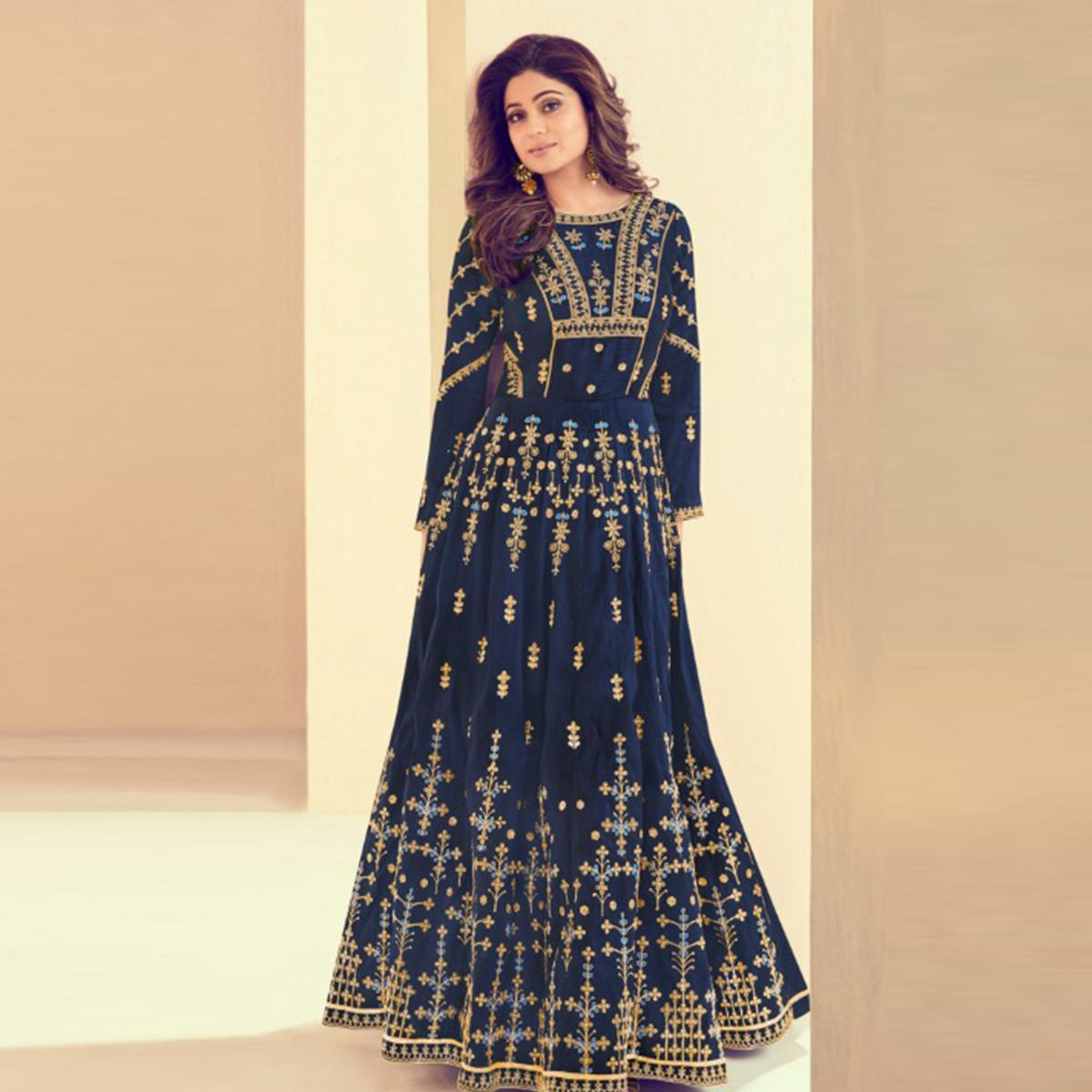 Surpassing Navy Blue Colored Party Wear Embroidered Silk Anarkali Suit