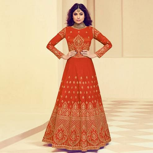 Gleaming Red Colored Party Wear Embroidered Silk Anarkali Suit