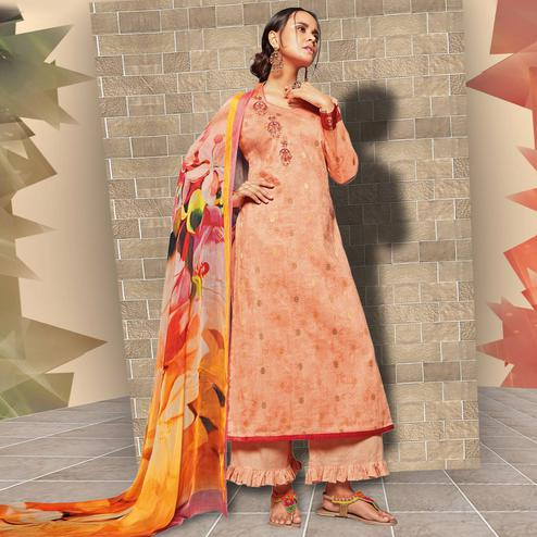 Charming Peach Colored Casual Wear Printed Art Silk Salwar Suit