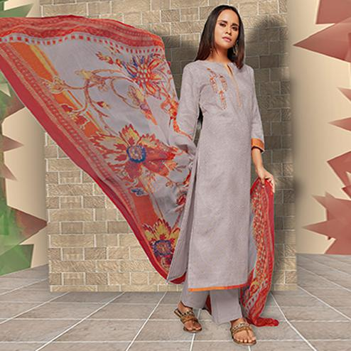 Ravishing Greyish Lavender Colored Casual Wear Printed Art Silk Salwar Suit