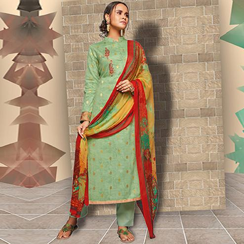 Delightful Pista Green Colored Casual Wear Printed Art Silk Salwar Suit