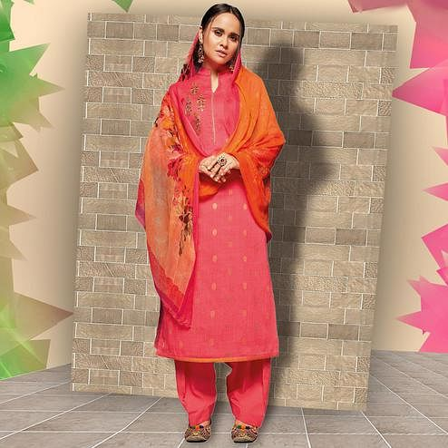 Stunning Pink Colored Casual Wear Printed Art Silk Salwar Suit