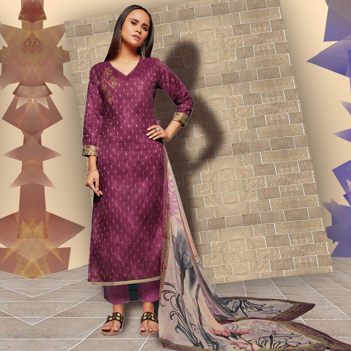 Blooming Wine Colored Casual Wear Printed Art Silk Salwar Suit