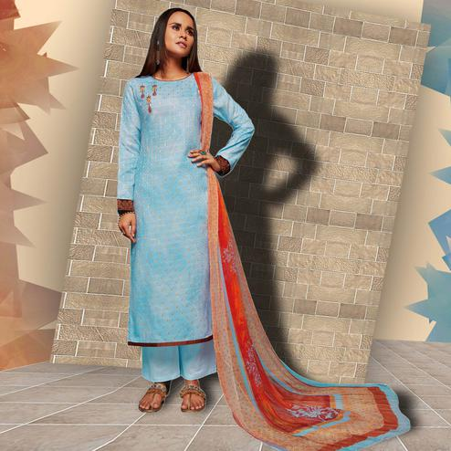 Marvellous Sky Blue Colored Casual Wear Printed Art Silk Salwar Suit