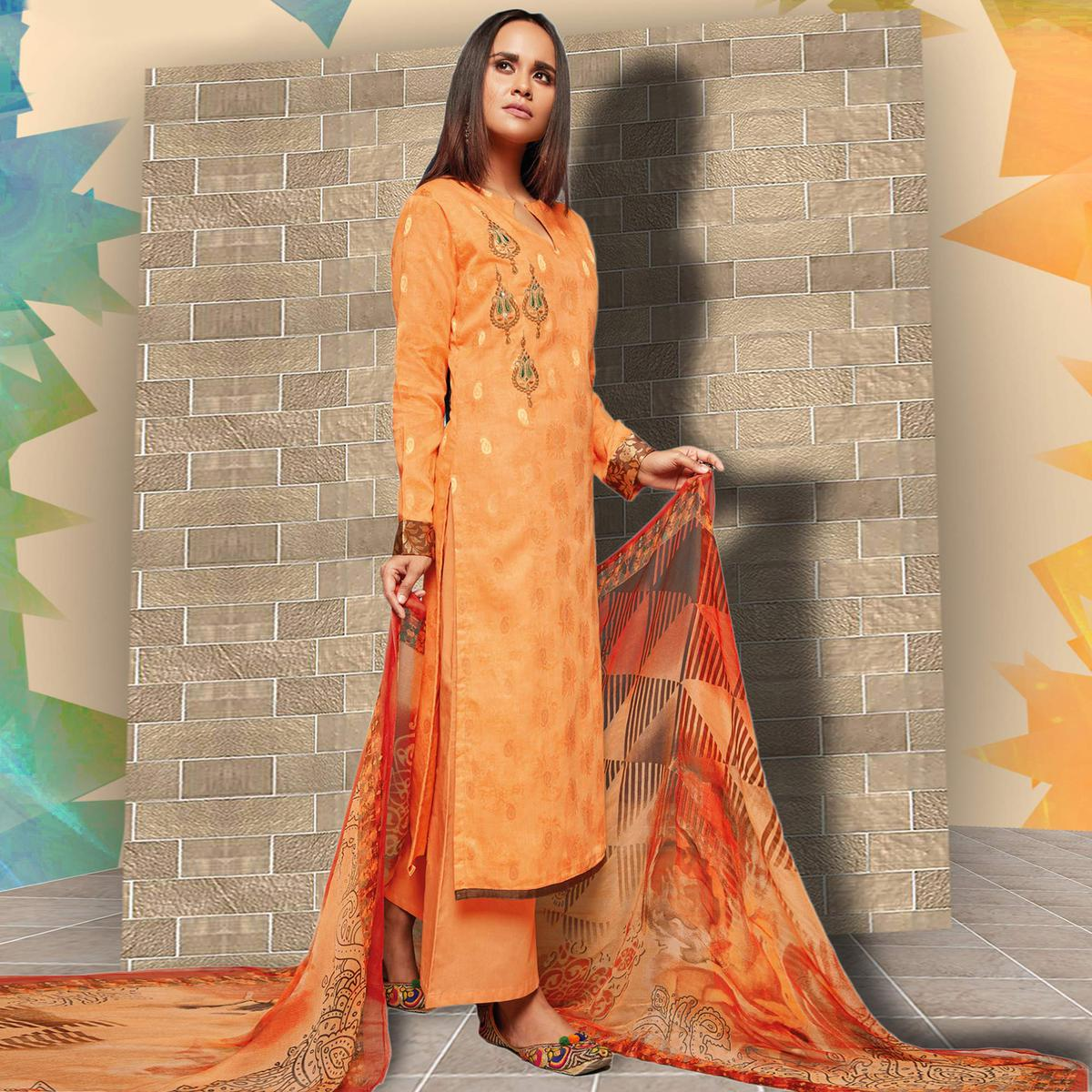 Mesmerising Light Orange Colored Casual Wear Printed Art Silk Salwar Suit