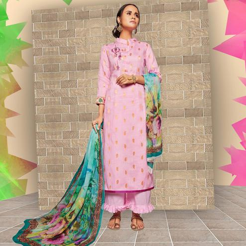Ravishing Baby Pink Colored Casual Wear Printed Art Silk Salwar Suit