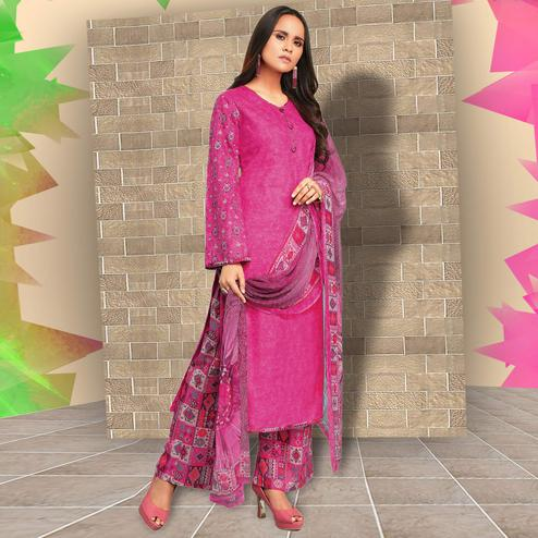Eye-catching Pink Colored Casual Wear Printed Cotton Salwar Suit