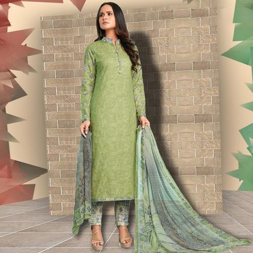 Amazing Green Colored Casual Wear Printed Cotton Salwar Suit
