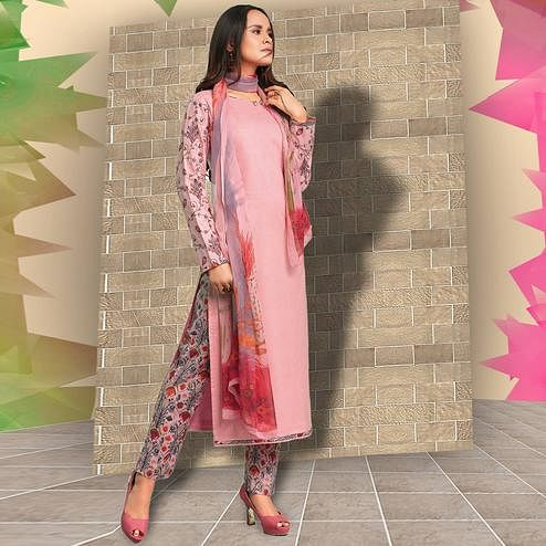 Exotic Pink Colored Casual Wear Printed Cotton Salwar Suit