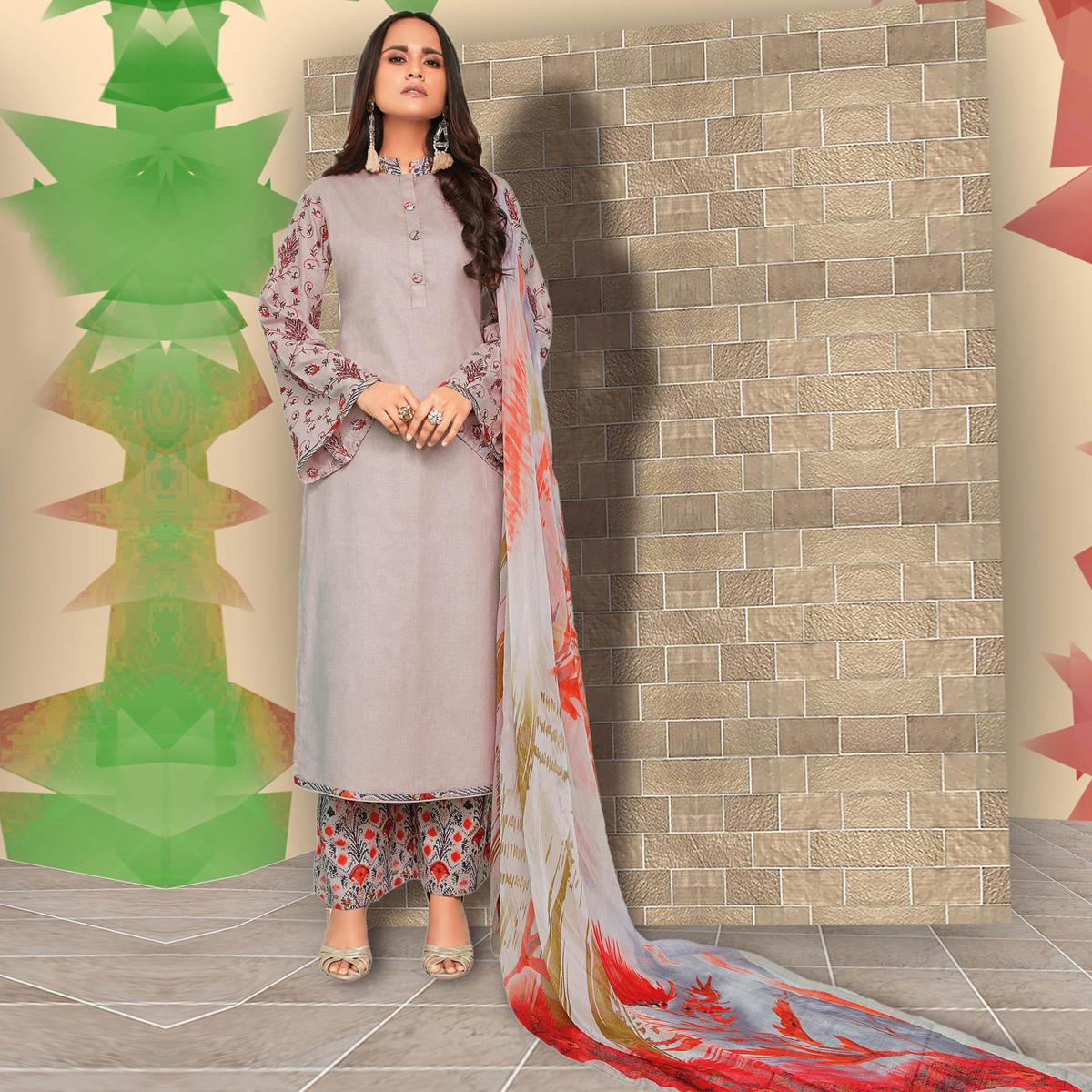 Majesty Grey Colored Casual Wear Printed Cotton Salwar Suit