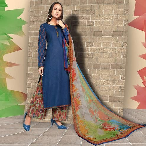 Preferable Blue Colored Casual Wear Printed Cotton Salwar Suit