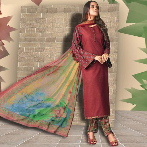 Refreshing Brown Colored Casual Wear Printed Cotton Salwar Suit