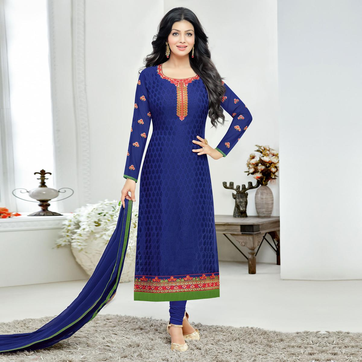 Royal Blue Floral Embroidered Straight Cut Brasso Suit
