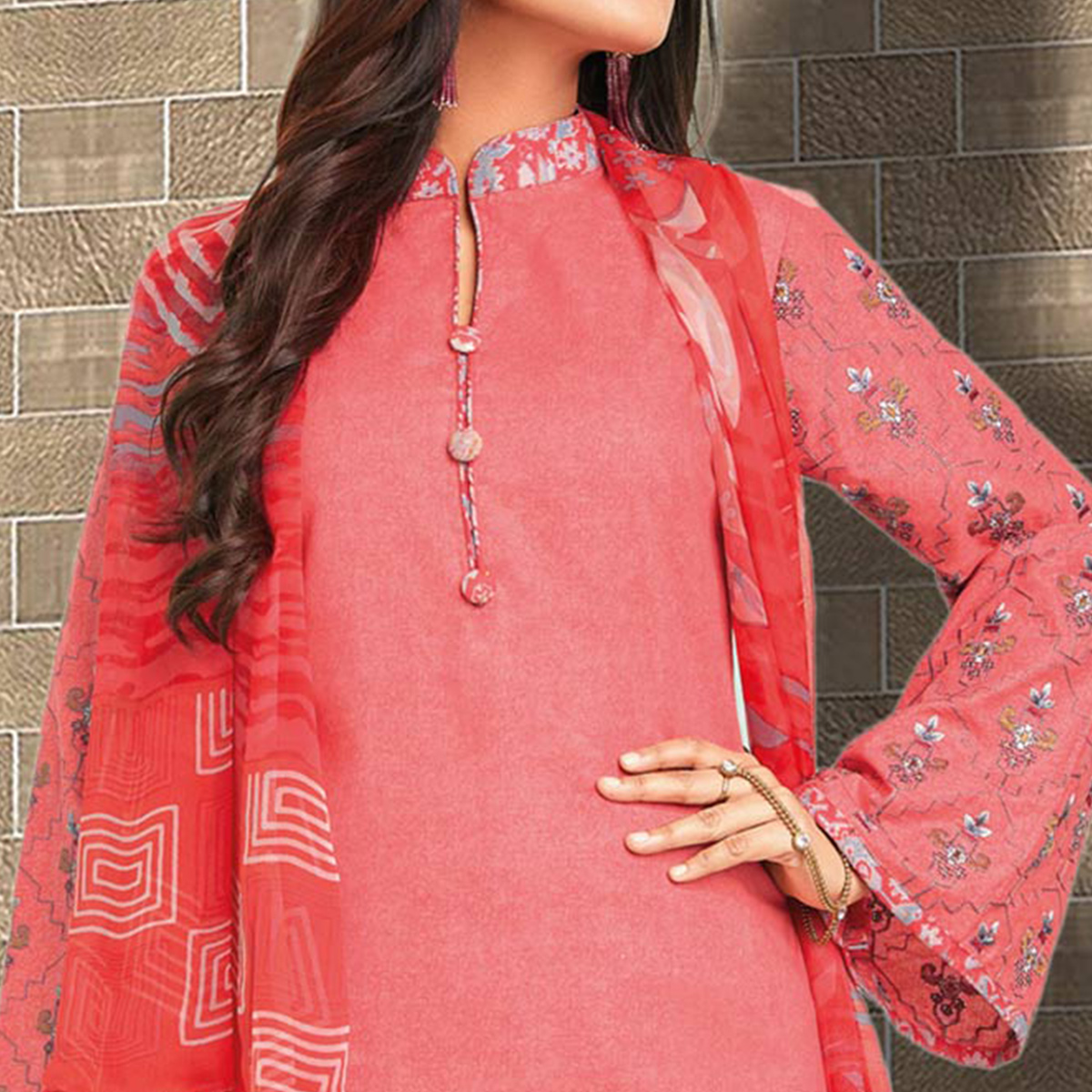 Elegant Coral Red Colored Casual Wear Printed Cotton Salwar Suit