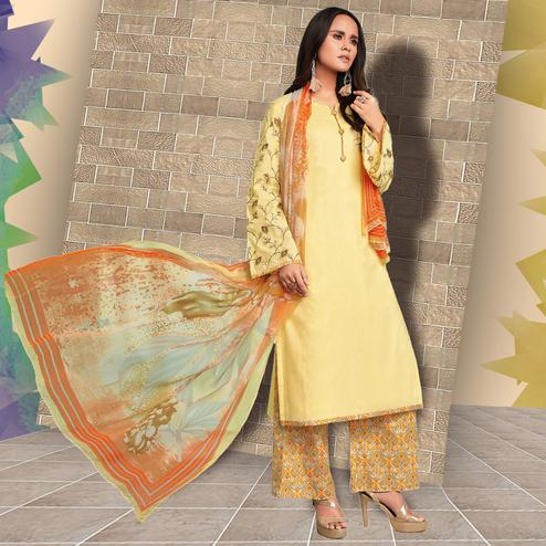 Alluring Yellow Colored Casual Wear Printed Cotton Salwar Suit