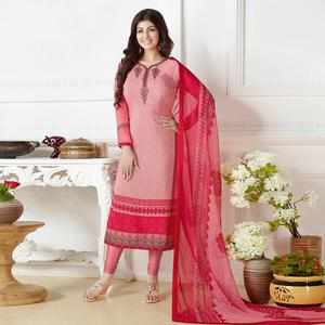 Classy Light Pink Colored Embroidered Party Wear Georgette Suit
