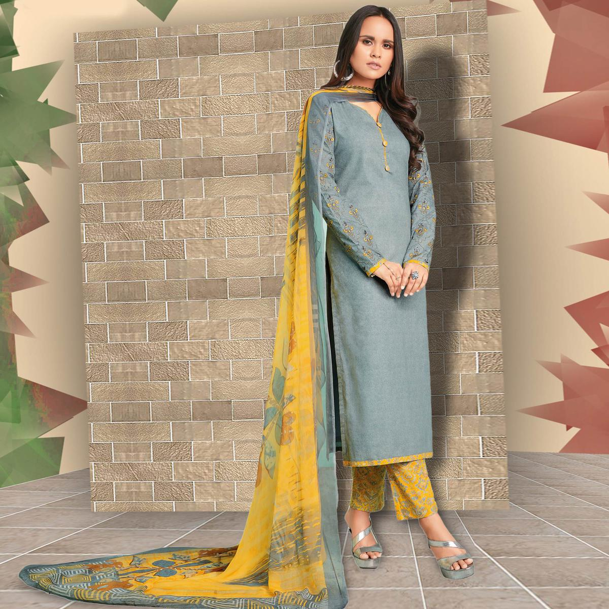 Radiant Grey Colored Casual Wear Printed Cotton Salwar Suit