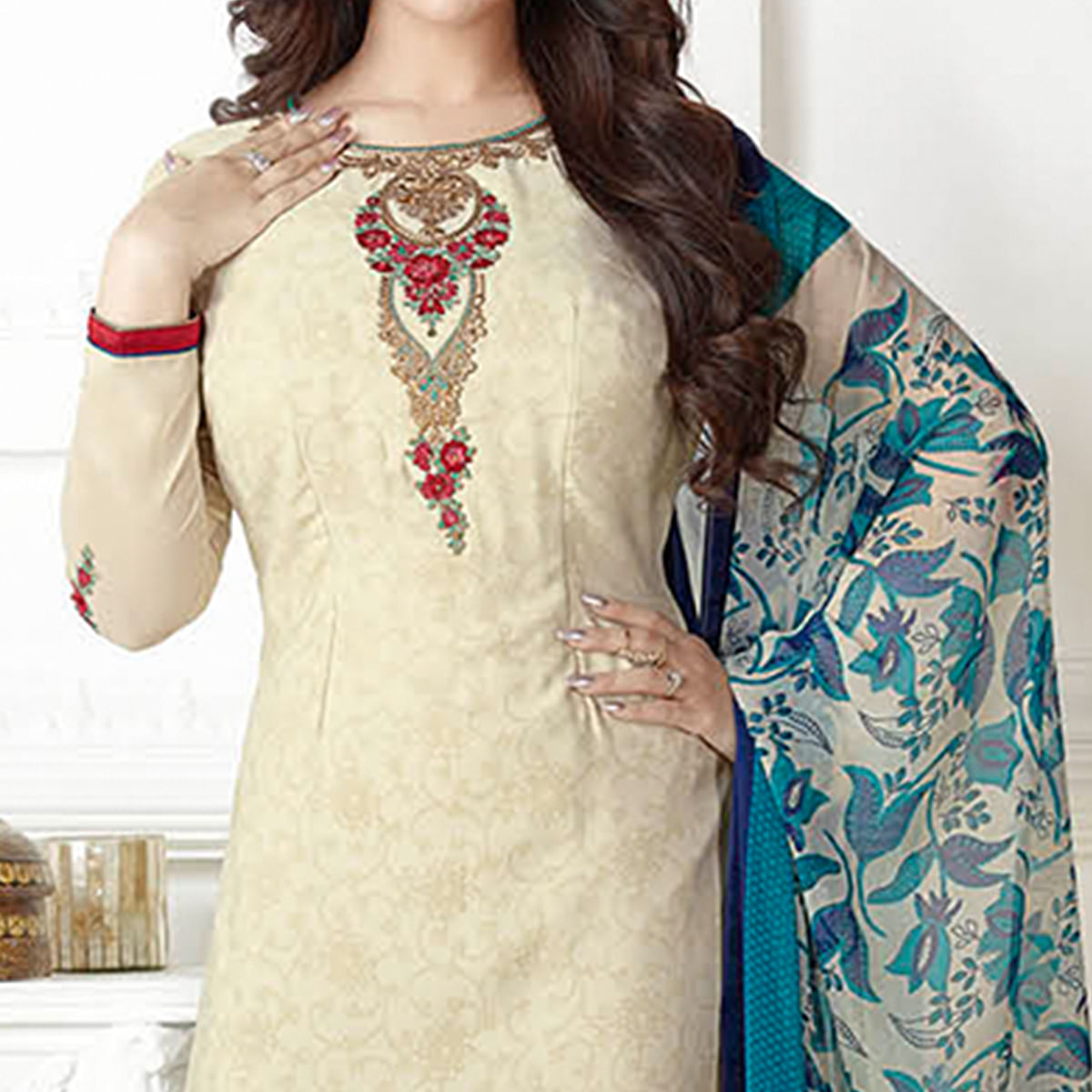 Elegant Cream Colored Embroidered Party Wear Georgette Suit
