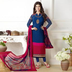 Stunning Navy Blue Floral Colored Embroidered Party Wear Georgette Suit