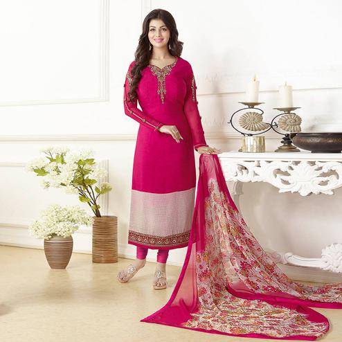 Mesmerizing Magenta Pink Colored Embroidered Party Wear Georgette Suit