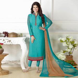 Sizzling Firozi Green Colored Embroidered Party Wear Georgette Suit