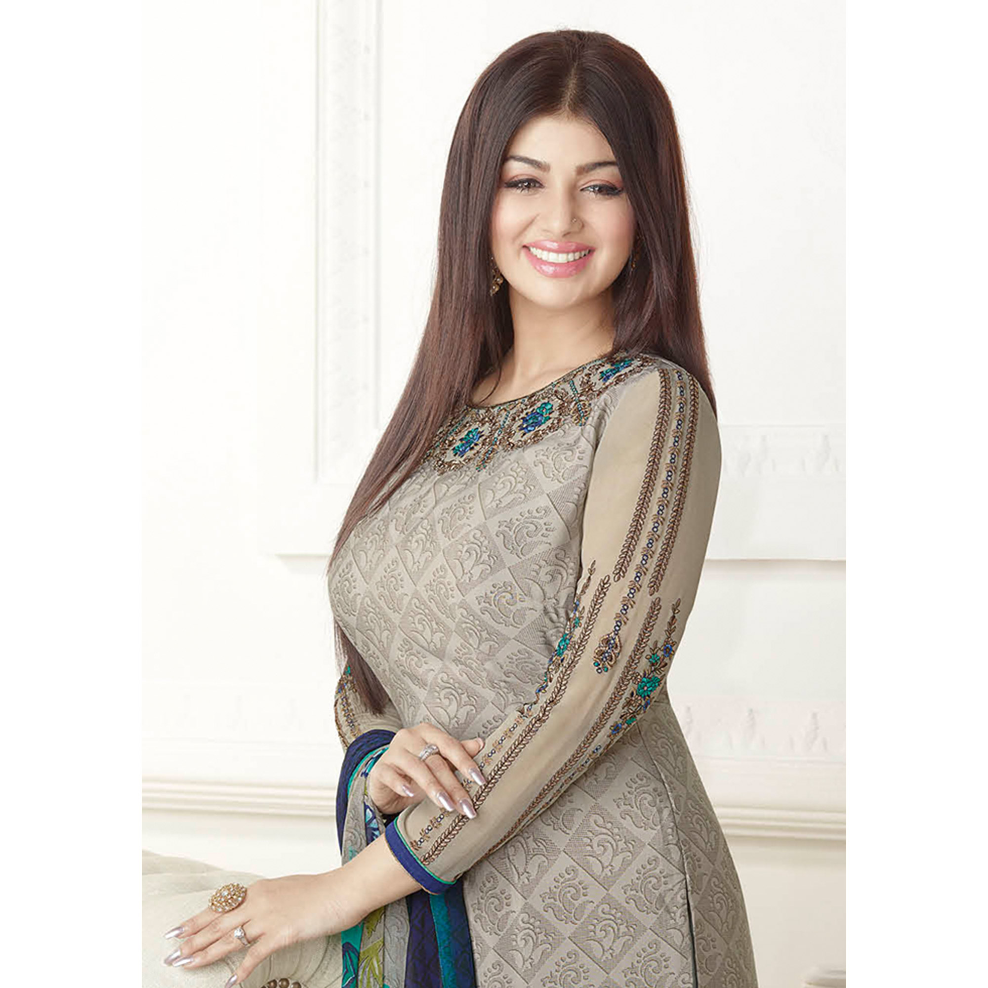 Graceful Grey Colored Embroidered Party Wear Georgette Suit