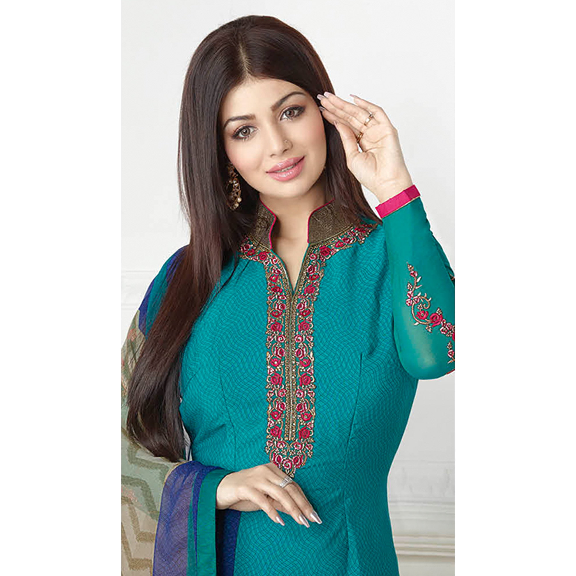 Beautiful Turquoise Blue Colored Embroidered Party Wear Georgette Suit