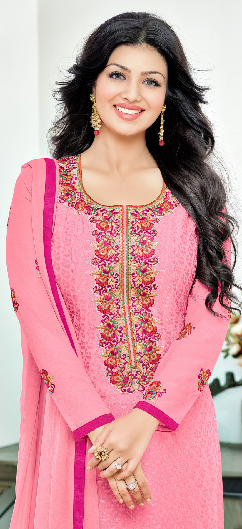Arresting Baby Pink Floral Embroidered Straight Cut Salwar Suit