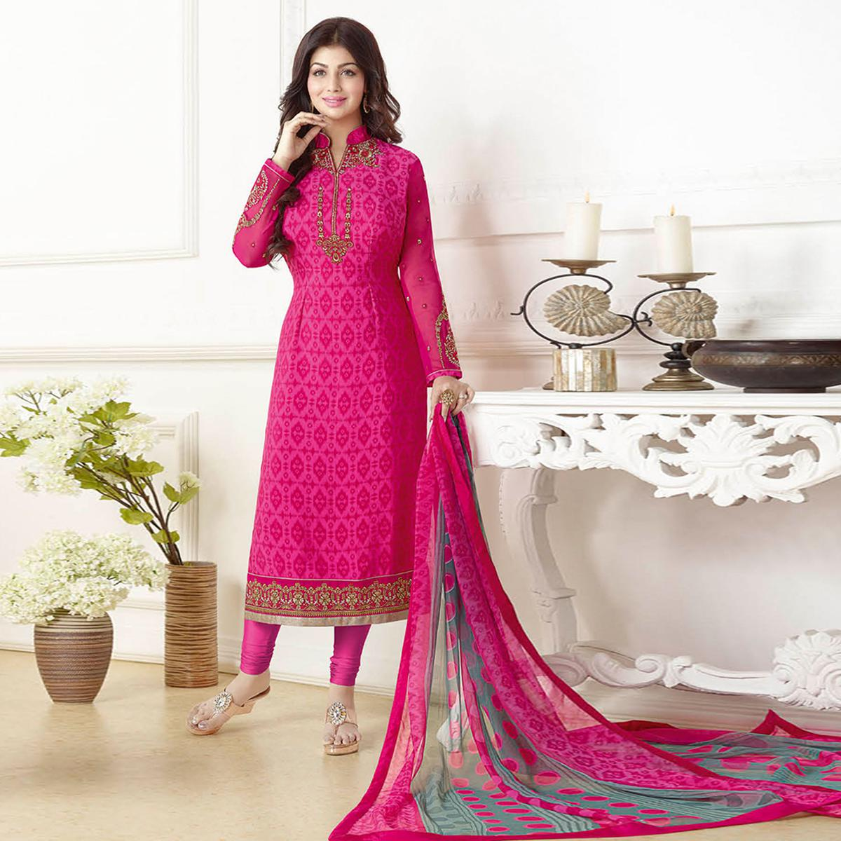 Arresting Hot Pink Colored Embroidered Party Wear Georgette Suit