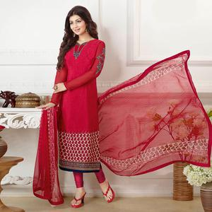 Radiant Red Colored Embroidered Party Wear Georgette Suit