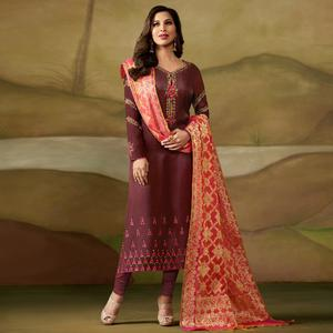 Intricate Wine Colored Party Wear Embroidered Satin - Georgette Salwar Suit
