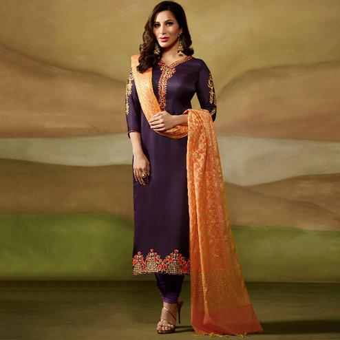 Desirable Purple Colored Party Wear Embroidered Satin - Georgette Salwar Suit