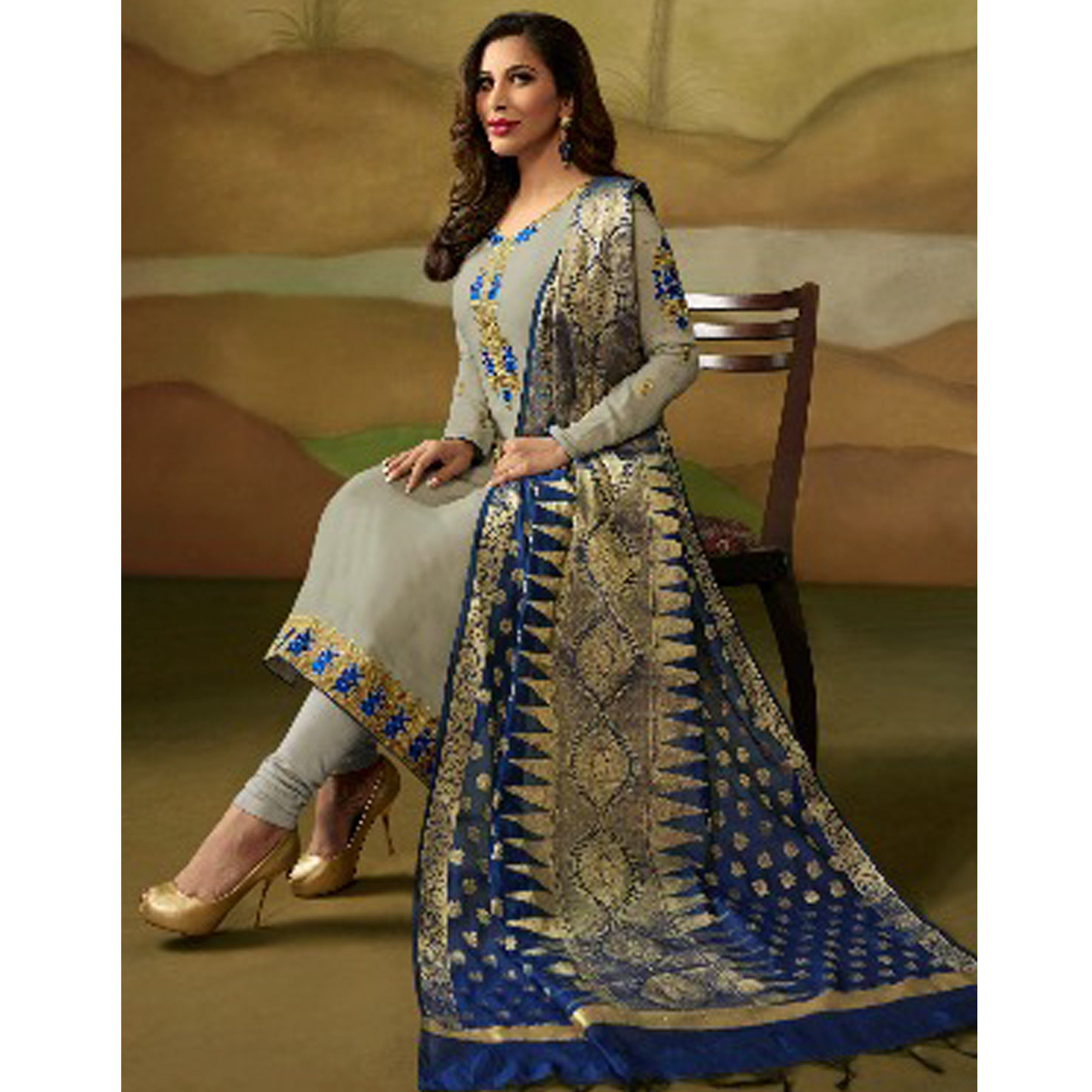 Sophisticated Grey Colored Party Wear Embroidered Satin - Georgette Salwar Suit