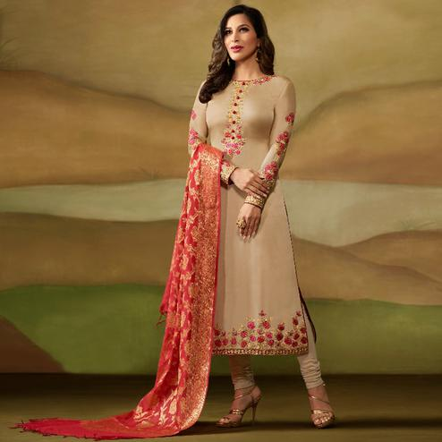 Demanding Beige Colored Party Wear Embroidered Satin - Georgette Salwar Suit