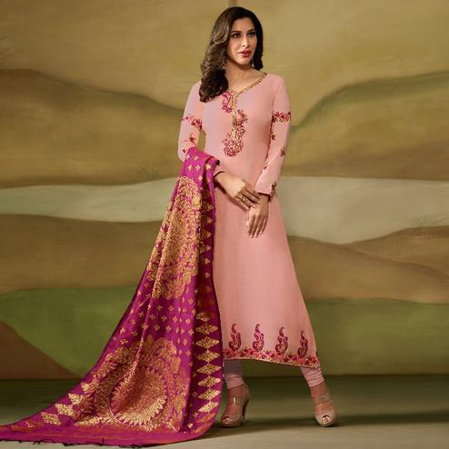 Pleasant Pink Colored Party Wear Embroidered Satin - Georgette Salwar Suit