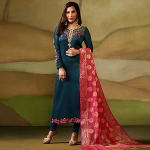 Unique Dark Teal Blue Colored Party Wear Embroidered Satin - Georgette Salwar Suit
