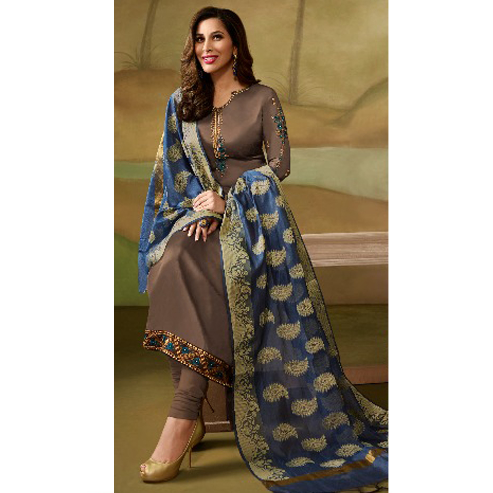 Refreshing Coffee Colored Party Wear Embroidered Satin - Georgette Salwar Suit